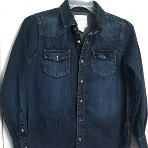 Tops - Womens Denim Jean shirt top with clip on buttons